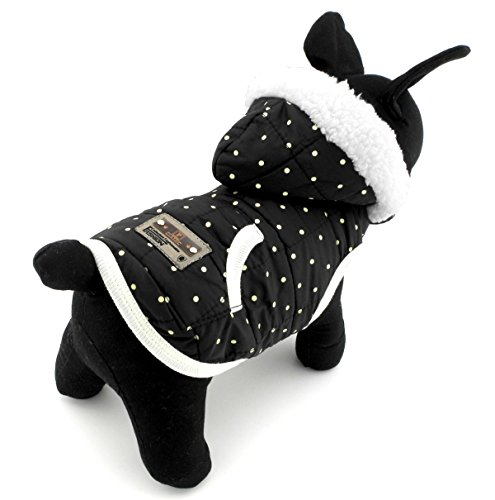 SELMAI Dots Print Small Dog Vest Winter Coat Hooded Jacket Puppy Pet Cat Clothes Cashmere Black L (Base Jumper Raincoat Camo)