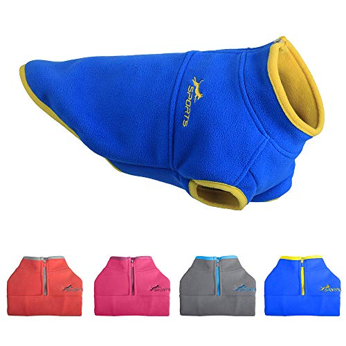 Leepets Cold Weather Fleece Dog Vest for Small Dog Half Zip Pullover Puppy Sweater Winter Warm Coat Clothes for Dog, Blue