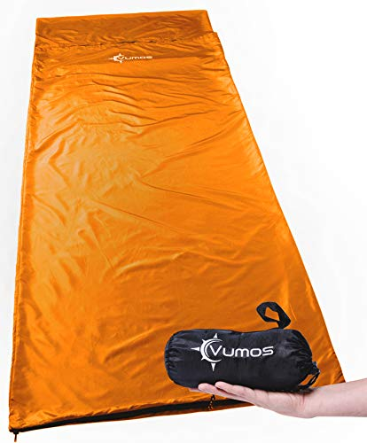 Vumos Sleeping Bag Liner and Camping Sheet - Silk Like Material for Travel - Has Full Length Zipper
