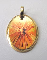 Confirmation Holy Spirit Gold Plated Medal Engravable Blessed by His Holiness