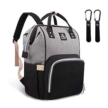 Hafmall Diaper Bag Backpack – Waterproof Multifunctional Giant Journey Nappy Bag (Grey Black)