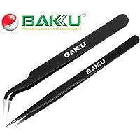 Buyyart New 2 in 1 ESD Anti Static Tweezers , BAKU BK ,Made of Stainless Steel