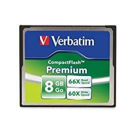 Verbatim Premium CompactFlash Memory Card 2 Minimum Read Speed 66X (10MB/sec) and Write Speed 60X (9MB/sec) Faster next shot recovery Faster image transfer