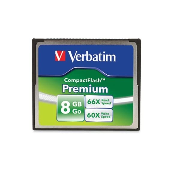 Verbatim Premium CompactFlash Memory Card 1 Minimum Read Speed 66X (10MB/sec) and Write Speed 60X (9MB/sec) Faster next shot recovery Faster image transfer