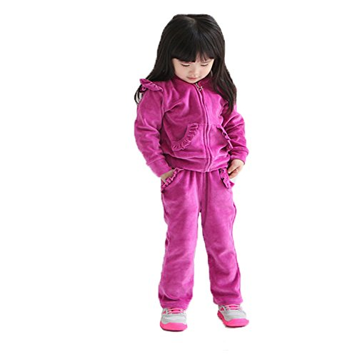 Banner Bonnie Girls' Velour Long Zip Hoodie Tracksuit Sweatshirt Sweatpant Sets 3-4 Years Rose-1 (Girls Velour Pants)