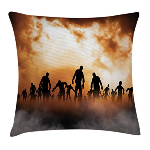 Ambesonne Halloween Decorations Throw Pillow Cushion Cover, Zombies Dead Men Body in The Doom Mist at Night Sky Haunted Decor, Decorative Square Accent Pillow Case, 18 X 18 Inches, Orange Black ()