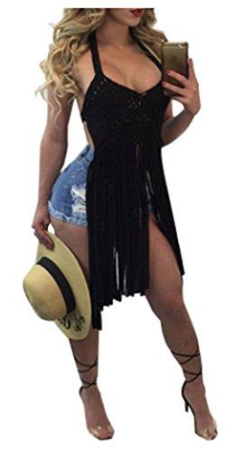 Nulibenna Womens Halter Sleeveless Crochet Cut Out Bikini Top Tassel Cover Up Swimwear