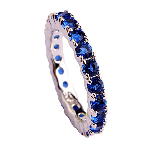 Psiroy Created Blue Sapphire Eternity Stacking Ring Wedding Band for Women Photo #3