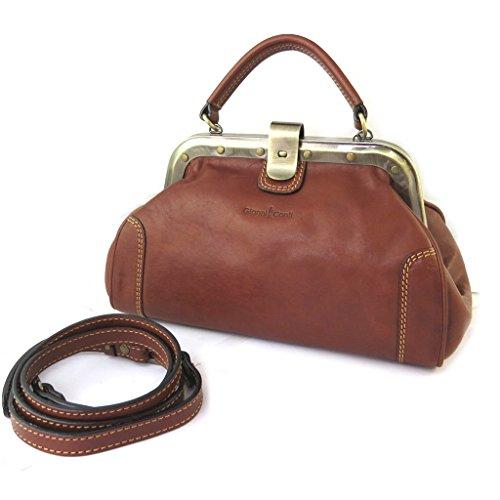 Bolso de cuero de la vendimia 'Gianni Conti'coñac - 31x16x12 cm.