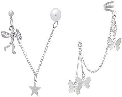 Chain Earrings Butterfly Tassels Ear Cuffs Cupid Angle Heart Tassel Ear Crawler Earring Climber Multi Layered Studs Cuffs Ear Wrap Pin Vine Charm Clip On Jewelry