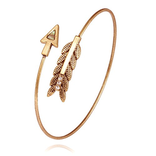 Abalone Cuff Bracelet - Abalone Shell Arrow Open Cuff Bangle,NOUMANDA Rose Gold Silver Armlet Cuff Bangle Armband Adjustable for Women (gold)