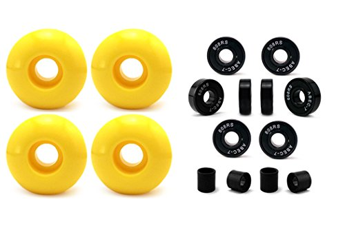 Vj skateshop Skateboard Wheel and Bearings, 52mm Skateboard Wheels w/ Abec7 Skateboard Bearings Skateboard Spacers (52mm Yellow)