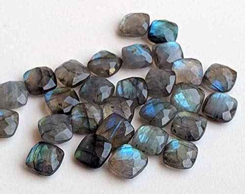 12mm Natural Labradorite Faceted Cut Cushion 25 Pieces Lot Top Quality Loose Gemstone