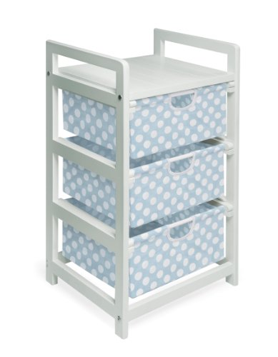 Badger Basket Lightweight Three Drawer Hamper/Storage Unit, Blue Dot (Nursery Baskets Three Blue)