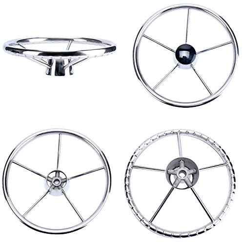 Boat Wheel - Amarine-made13-1/2 Inch 5-Spoke Destroyer Style Stainless Boat Steering Wheel