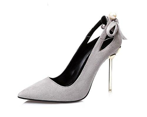 Nvxie Tips De 38 Stilettos Heels Suede Gray Bow 34 Zapatos Mujer Hollow High rTRnqArw