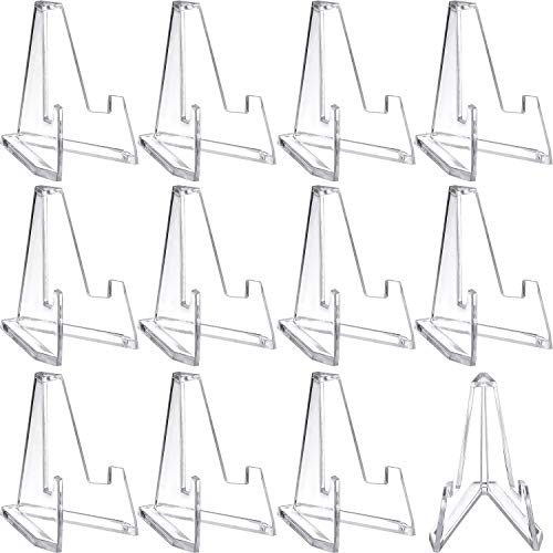 Boao 12 Packs Mini Clear Acrylic Easel Stands, 2.25 Inch Tall
