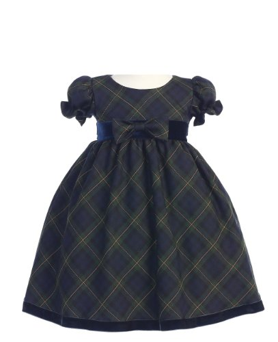 Holiday Christmas New Year's Girl's Dress Green Plaid Infant M 6-12 Months