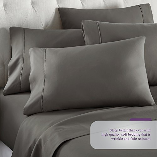 6 Piece Hotel Luxury Soft 1800 Series Premium Bed Sheets Set, Deep Pockets, Hypoallergenic, Wrinkle & Fade Resistant Bedding Set(Queen, Gray)