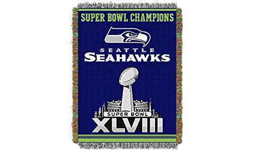 "Northwest 051 Series NFL Seattle Seahawks Commemorative Woven Tapestry Throw, 48"" x 60"", Blue"