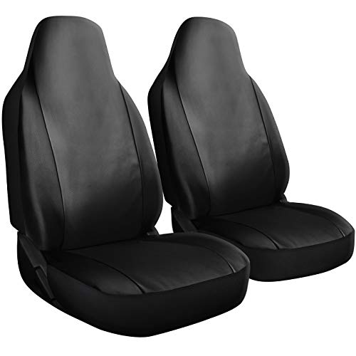 OxGord Car Seat Cover - PU Leather Solid Black with Front Low Bucket Seat - Universal Fit for Cars, Trucks, SUVs, Vans - 2 pc Set (2005 Seat Bmw Driver 525i)