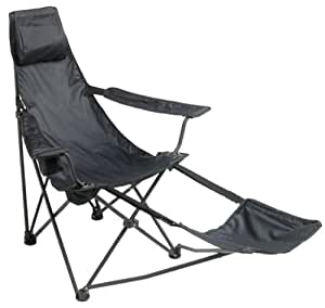mac sports black cannon beach deluxe folding chair with footrest lawn chairs. Black Bedroom Furniture Sets. Home Design Ideas
