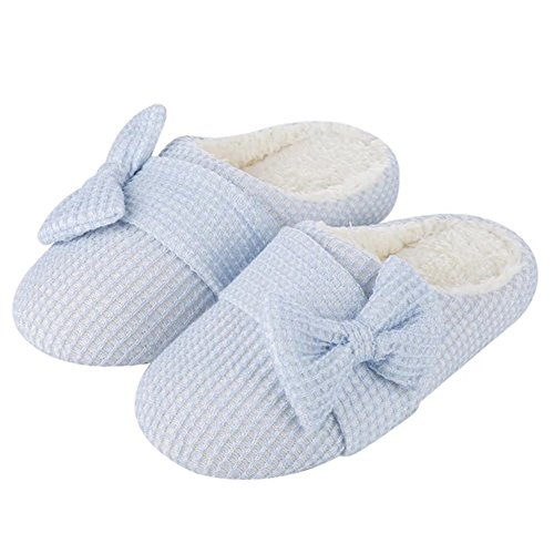 House Blue Wool Indoor Womens YUTIANHOME with Anti Plush Comfort For Slippers Soft Lined Shoes Ladies Fleece Like Warm Skid bowknot pqw7BAx