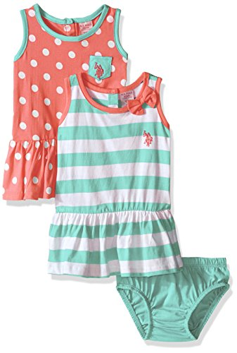 [U.S. Polo Assn. Baby Girls' 2 Pack Stripe and Polka Dot Cotton Dresses, Georgia Peach, 6/9 Months] (Georgia Stripe)