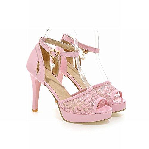 Carolbar Womens Buckle Ankle Strap Peep Toe Bead Pendant Patent Leather Elegance Sweet Bridal Lace Stieltto Heel Sandals Pink 7RnkT2