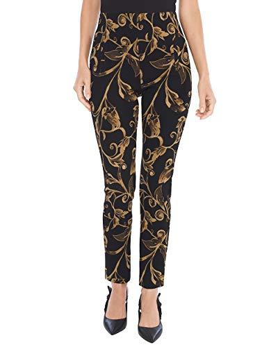 Chico's Women's So Slimming Juliet Bi-Color Scroll Ankle Pants Size 10 M (1.5 REG) Black/Gold