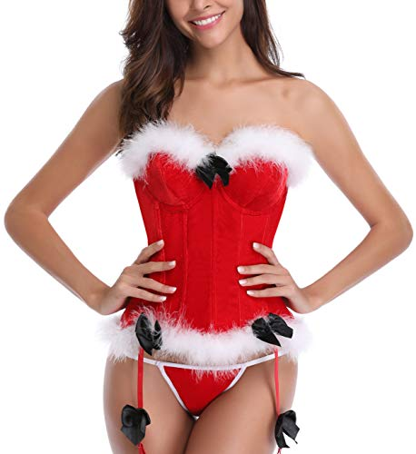 Bluland Women's Christmas Corset Santa Costume Bustier Overbust Lingerie Red Small -