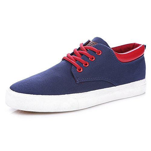 rismart Mens Lace-Up Low Wedge Canvas Sneakers Comfort Hiking Espadrilles Shoes Navy 9953 US9