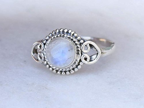 925 Sterling Silver Rainbow Moonstone Ring Size US 7 - Rainbow Stone Gemstone Statement Ring Gift Jewellery For Girl Women