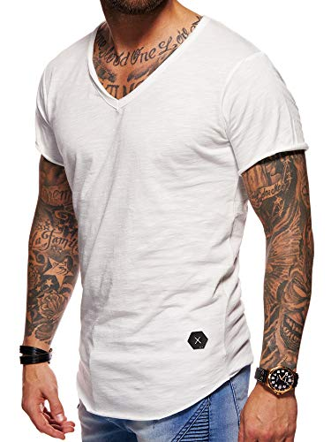 (behype. Men's Basic V-Neck Casual Fashion Hipster T-Shirt Muscle Longline Tee Casual Premium Top D-1702 (L,White))