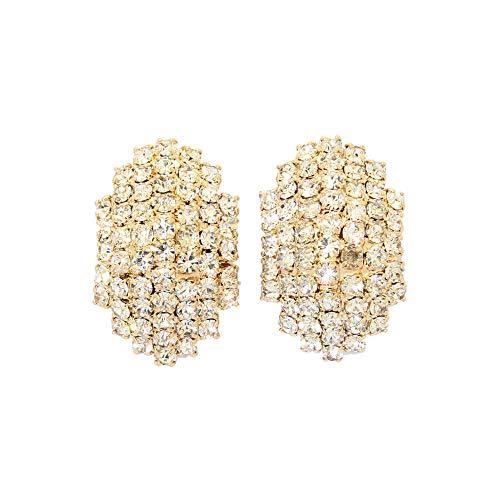(Earrings Bling Swarovski Crystals Hypoallergenic Jewelry for Women Girls Round Blue Austrian Crystals Clip On EarringsJewelry for Women Girls)