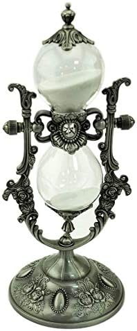 leiqin Metal Rotating Hourglass White Sand Timer 15 Minutes Royal Style Zinc Alloy Hourglass