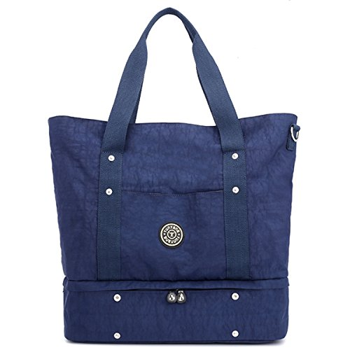 Beach Travel Travel Dark Organizer Nylon Blue Bag Blue Shopper Large Shoulder with Dark Handbag Bag for Women Waterproof Shopping JANSBEN Tote Bag Crossbody Shoes 6qwx5CSC0