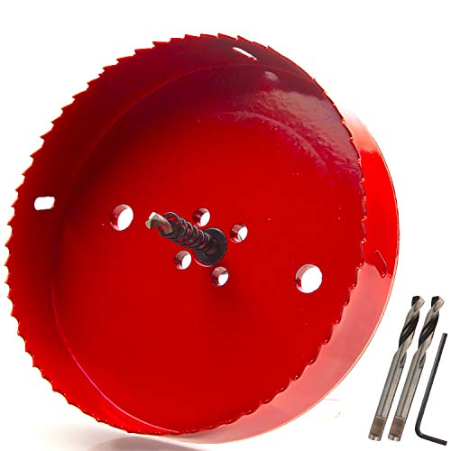 (Eliseo 6 inch 152 mm Hole Saw Blade for Cornhole Boards/Corn Hole Drilling Cutter & Hex Shank Drill Bit Adapter for Cornhole Game/Carbon Steel & BI-Metal Heavy Duty Steel(Red) )