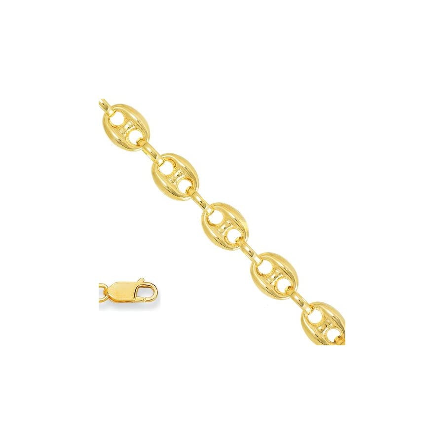 "Jewelstop 14k Yellow Gold 4.7 mm Puffed Mariner Anklet, Lobster Claw Clasp 10"", 5.8gr."