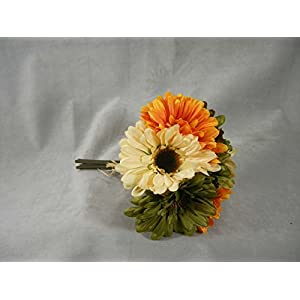 Factory Direct Craft Artificial Silk Shades of Autumn Gerbera Daisy Bundle for Floral Arranging, Crafting and Home Decor 78