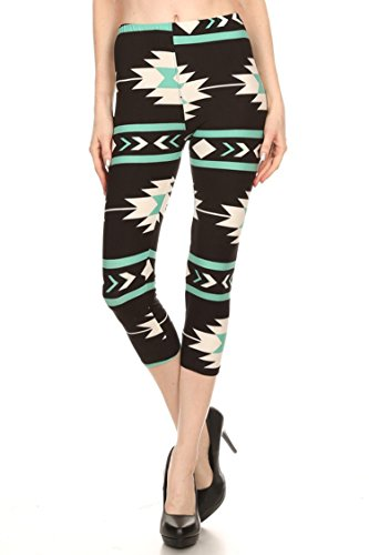 In Black Mint Pants (Leggings Mania Women's Printed Cropped Capri Leggings Black Mint Santa Fe)
