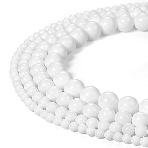 6mm Round White Tridacna Shell Beads Loose Gemstone Beads for Jewelry Making Strand 15 Inch (63-66pcs)