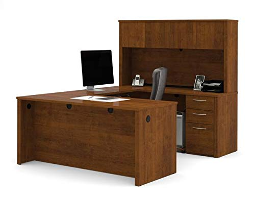 Tuscany Brown U-Shaped Office Desk with Hutch and Pedestal
