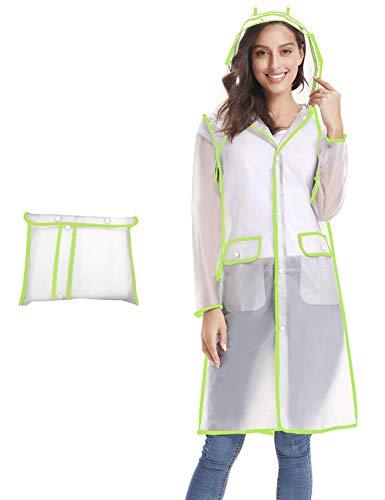 iClosam Women Waterproof Raincoat Portable Rain Poncho Packable Lightweight Hooded Long Rainwear (Light Green, Medium)