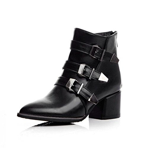 Always Pretty Women's Oversize High Heel Point Toe Ankle High Martin Boots Black 11 (Point Toe Boot)