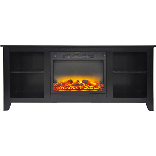 Fireplace Santa Monica - Cambridge CAM6226-1COFLG2 Santa Monica 63 In. Electric Fireplace & Entertainment Stand in Black Coffee with Enhanced Log Display