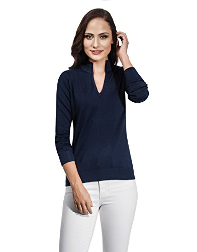 - Vincenzo Boretti Woman's Sweater with V-neck and stand-up collar,darkblue,Large