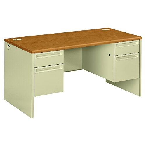 Hon Double Pedestal Desk, 60 by 30 by 29-1/2-Inch, Harvest/Putty - Edge Series Single Pedestal Desk