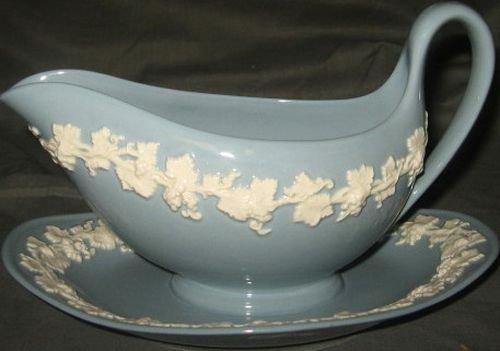 Plain Gravy Boat - Wedgwood Cream Color On Lavender Gravy Boat & Plate