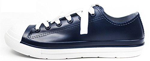 Flat Rain Footwear Women Low Top, Waterproof Shoes Fashion Rain Boots Antiskid (6.5, Navy Blue)